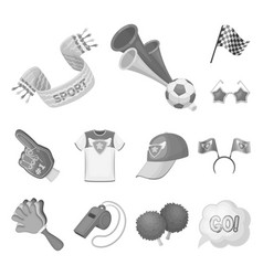 Fan and attributes monochrome icons in set vector