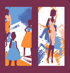 fashion banner silhouettes of vector image