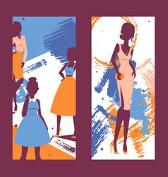 Fashion banner silhouettes vector