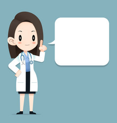 Female doctor tiny character blank talk balloon vector