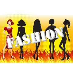 Female fashion on fire vector