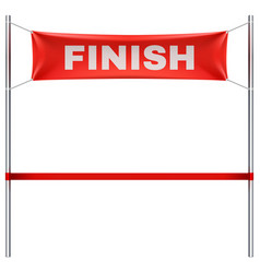 finish line with red textile banner and ribbon vector image