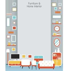 Furniture Flat Design Frame and Background vector image