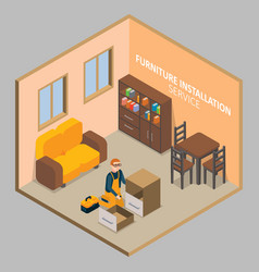 Furniture installation isometric concept vector