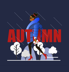 girl in winter outer clothing in the style of flat vector image