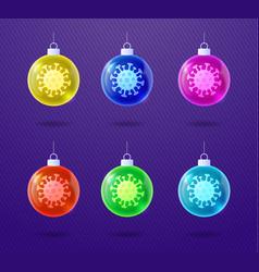 glossy christmas coronavirus tree toys set of vector image