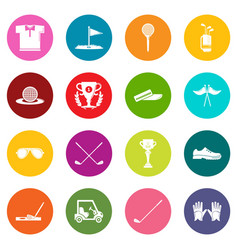 golf icons set colorful circles vector image