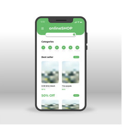 green online shop ui ux gui screen for mobile vector image