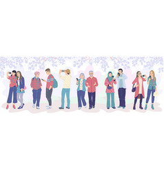 group tourists watching blooming trees vector image