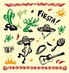 hand drawn set mexican symbols vector image