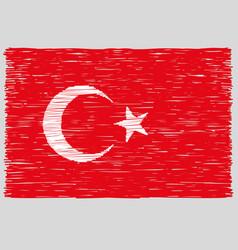 Hand drawn turkish flag vector