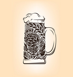 Hand drawn vintage graphic with beer mug and vector