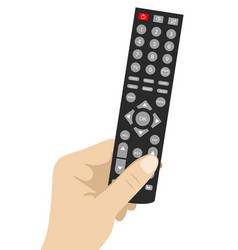 Hand holding remote tv control vector