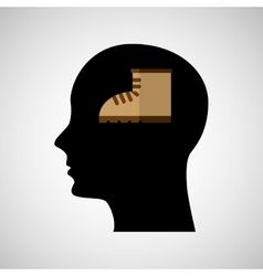 Head silhouette black icon boot vector