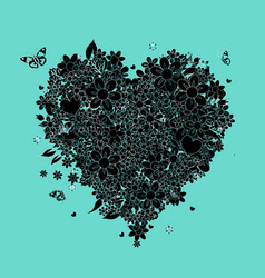 heart shape black silhouette for your design vector image