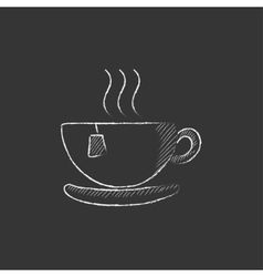 Hot tea in cup Drawn in chalk icon vector