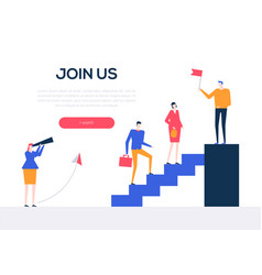 join us - flat design style colorful web banner vector image