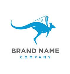 kangaroo book logo vector image