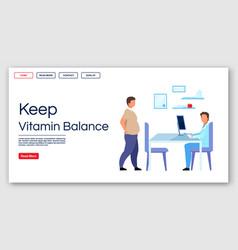 Keeping vitamin balance landing page template vector