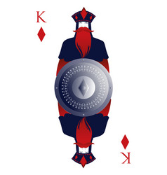 king of diamonds with crown holding a shield with vector image