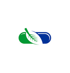 leaf capsules icon logo vector image