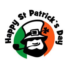 leprechaun logo on irish flag background face vector image