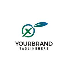 letter x leaf logo design concept template vector image