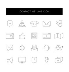 line icons set contact us pack vector image