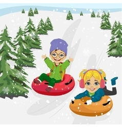 little boy and girl sliding down hill on tubes vector image