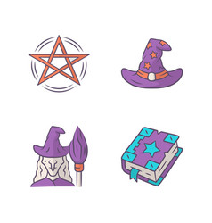 magic color icons set pentagram wizard hat witch vector image