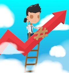 Man Worker Climbing ladder Fixed vector image