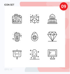 Mobile interface outline set 9 pictograms of vector
