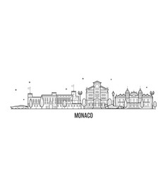 Monaco skyline big city buildings line vector