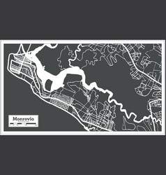 monrovia liberia city map in retro style outline vector image