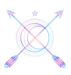moon an arrows sacred geometry arrow and moon vector image