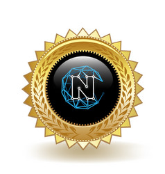 Nucleus vision cryptocurrency coin gold badge vector