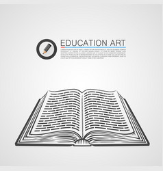 open book sketch art vector image