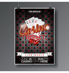 Party Flyer design on a Casino theme with cards vector