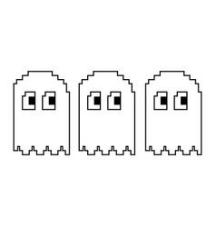 Pixel character ghosts retro game arcade vector