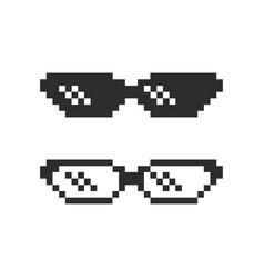 pixel glasses icon black on white vector image