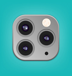 realistic camera lenses 3d icon isolated vector image