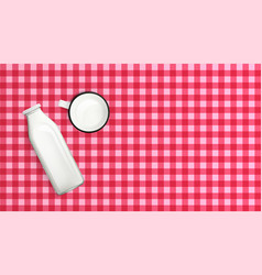Realistic milk bottle and cup on wooden table vector