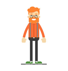 Redheaded hipster in shirt suspenders and pants vector
