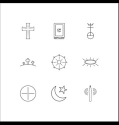 Religion outline icons set vector