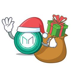 Santa with gift maker coin mascot cartoon vector