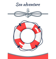 sea adventure poster lifebuoy vector image