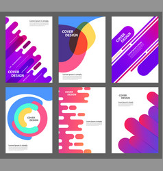 set brochure annual report flyer design vector image