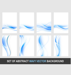 set of abstract blue wavy background vector image
