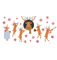 set of christmas reindeer with vector image