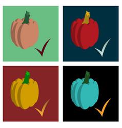 Set of flat pumpkin autumn halloween or vector